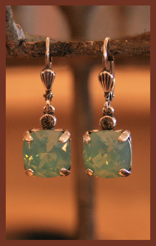 Aqua Square Earrings
